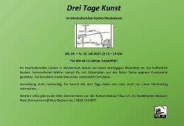 Ankündigung Kunstprojekt Interkultureller Garten Neubeckum